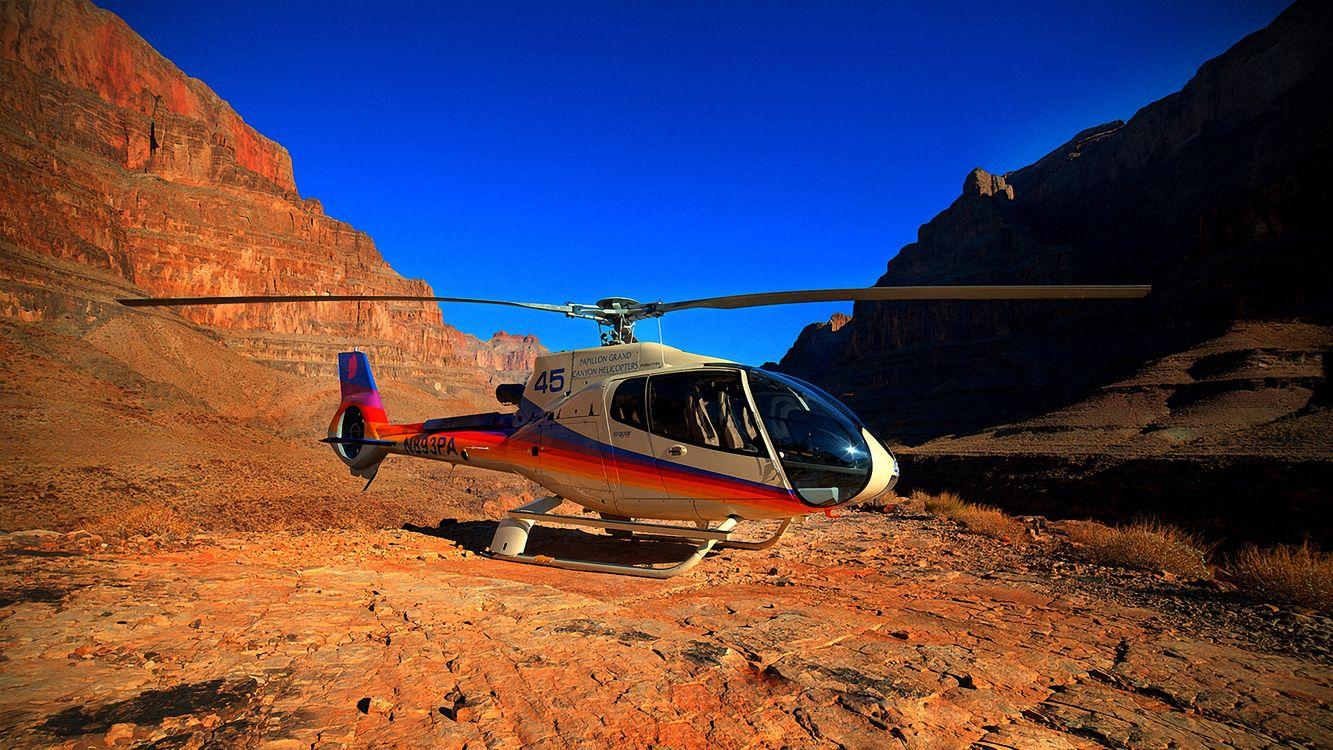 Фото бесплатно каньон, горы, вертолет, небо, grand canyon, helicopter, синее, разное - скачать на рабочий стол
