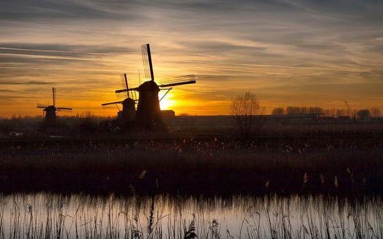 Фото бесплатно мельницы, ветровые, поле