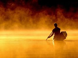 Фото бесплатно каноэ, река, мужчина, весло, испарение, разное