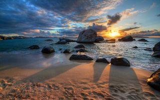 Бесплатные фото берег,море,камни,валуны,песок,закат,солнце