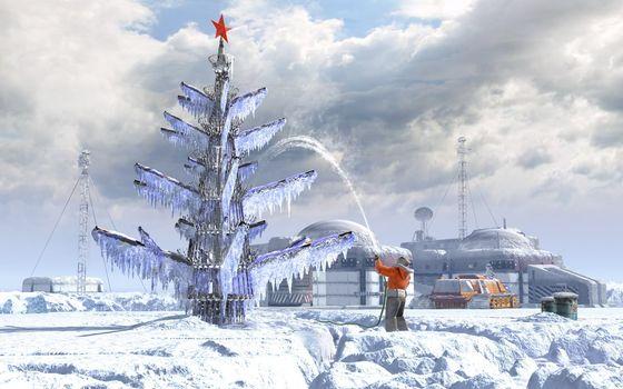 Бесплатные фото елка,антарктическая,новогодняя,ледяная,человек,поливает,водой,елку,новый год