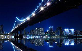 Бесплатные фото город,вода,фонари,подсветка,ночь,здания