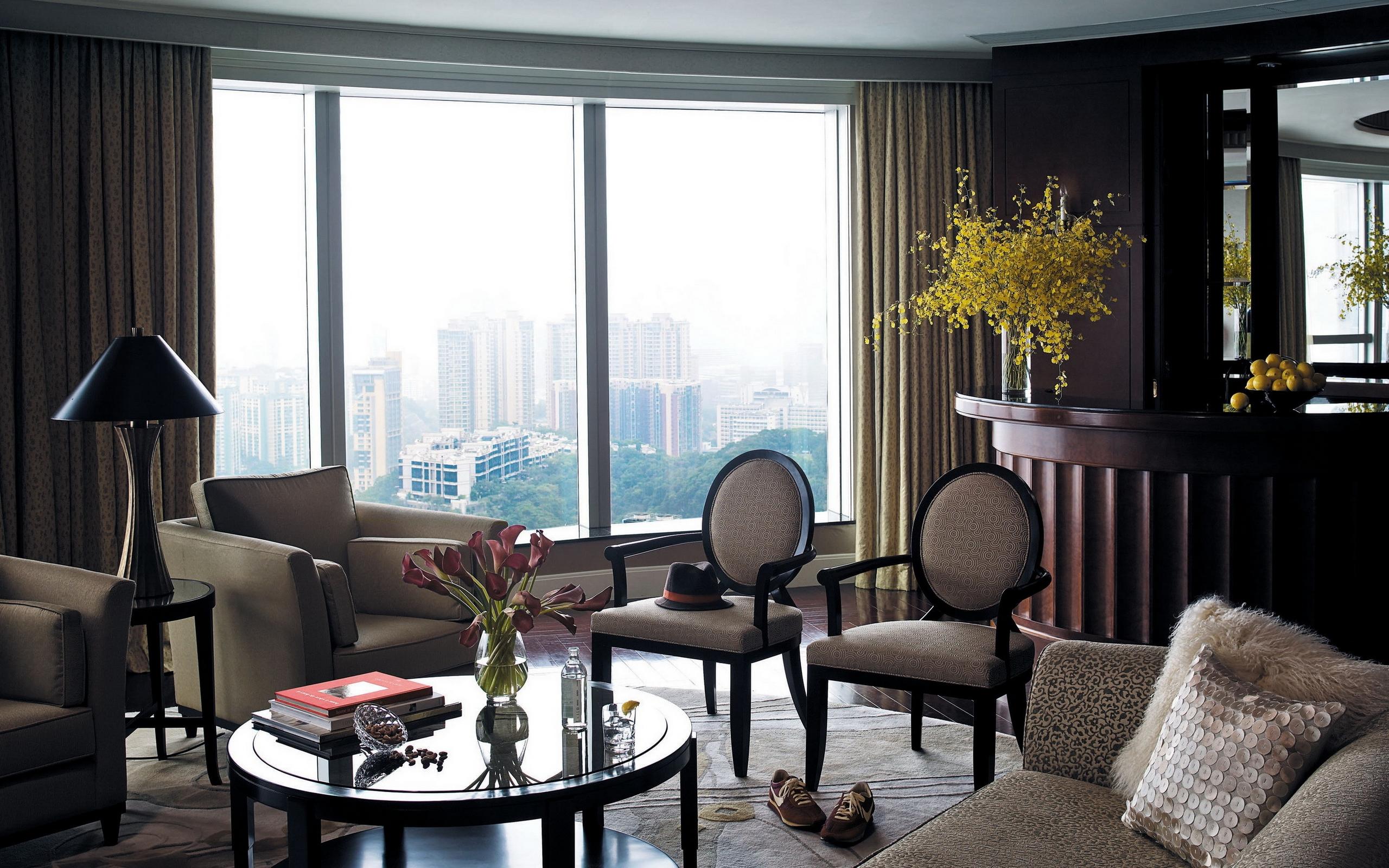 обои гостиная, кресла, диван, столик картинки фото