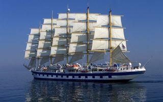 Заставки корабль, парус, палуба, море, океан, небо, вода
