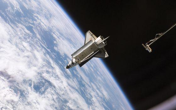 Photo free space, shuttle, astronauts