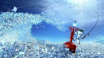 Фото бесплатно листовки, небо, облака, буй, удочка, леска, крючок, робот, hi-tech, 3d графика
