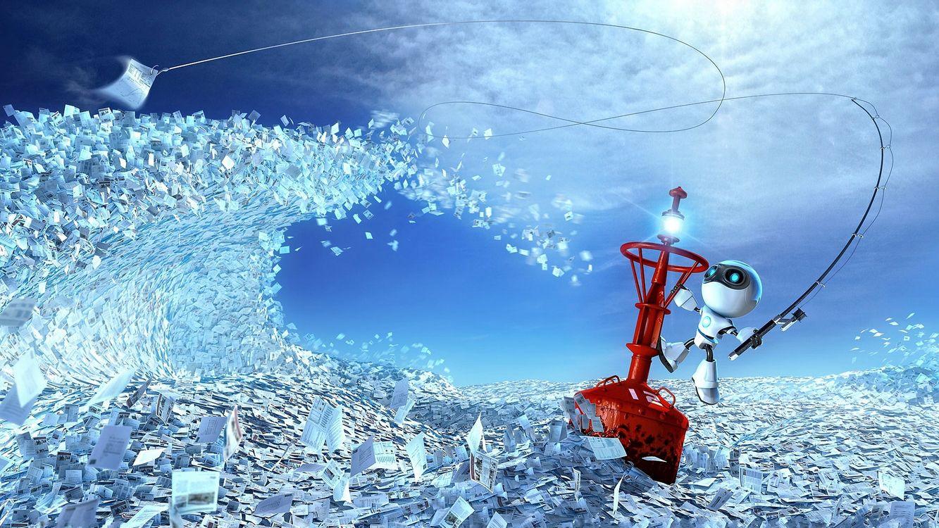 Фото бесплатно листовки, небо, облака, буй, удочка, леска, крючок, робот, hi-tech, 3d графика, 3d графика