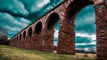 Фото бесплатно мост, арки, кирпич, кладка, деревья, небо, разное