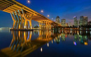 Бесплатные фото мост,конструкция,сооружение,фонари,дома,здания,море
