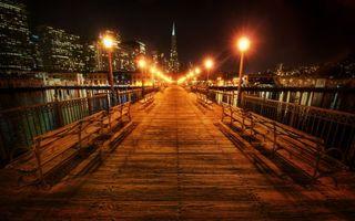 Бесплатные фото мост,лавочки,скамейки,перила,забор,вечер,ночь