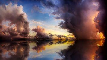 Бесплатные фото небо,облака,тучи,вода,отражение,природа
