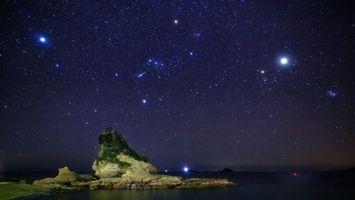 Заставки ночь, небо, звезды, планеты, солнечной, системы, марс, юпитер, сатурн, пейзажи