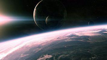 Бесплатные фото планета,поверхность,высота,полет,солнце,свет,туманность