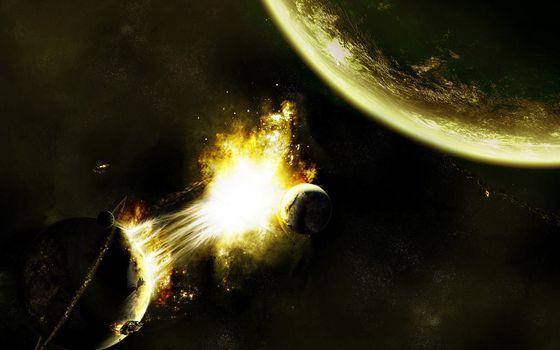 Photo free planet, fire, stars