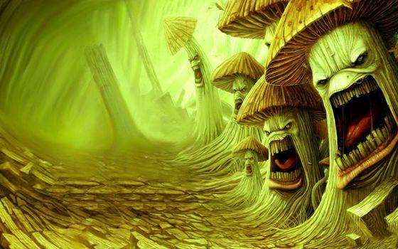 Фото бесплатно рисунок, грибы, злые