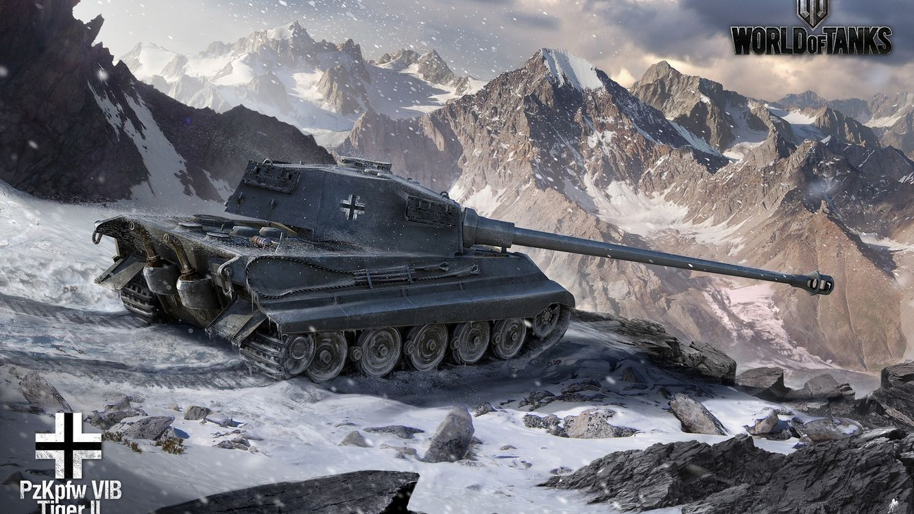 Фото бесплатно танк, королевский, тигр, world of tanks, гусеница, колеса, пушка, дуло, снег, горы, зима, игры, оружие, оружие