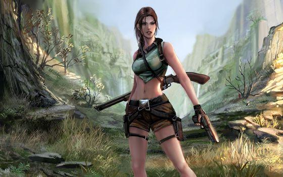 Photo free tomb raider, lara croft with gun, shotgun