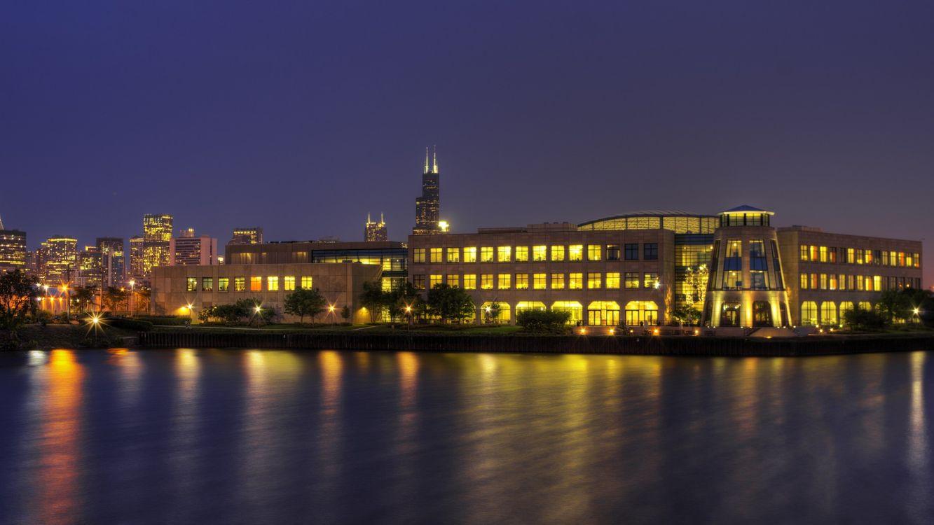 Free photo evening, houses, buildings, windows, light, river, reflection - to desktop