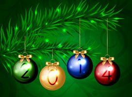 Обои ветка, елка, игрушки, 2014, блики, шары, рисунок, новый год