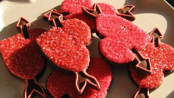 Обои печенье, шоколадное, сердечки, еда
