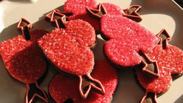 Бесплатные фото печенье,шоколадное,сердечки,еда