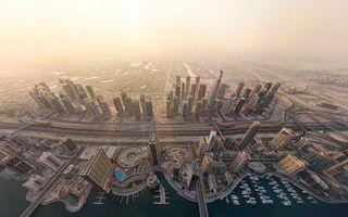 Заставки город дубай,небоскребы,океан,море,берег,автомагистрали,город