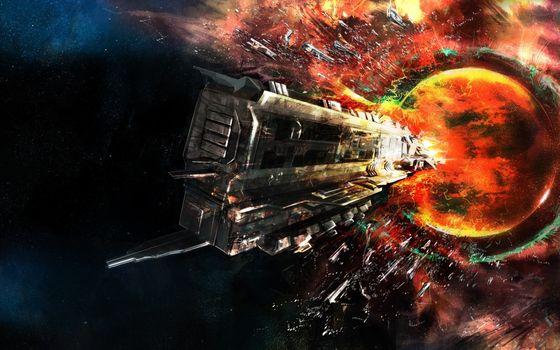 Фото бесплатно арт, космический корабль, космос