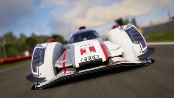 Фото бесплатно forza motorsport, audi, спорткар, болид, трек, скорость, один, спереди, машины, спорт