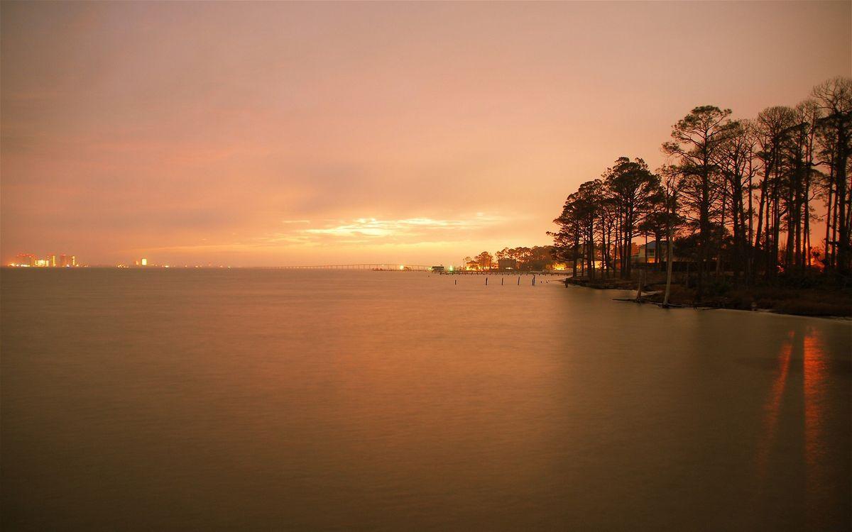 Обои закат, залив, море картинки на телефон