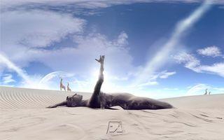 Заставки человек, абстракция, фон, синий, цвет, заставка, абстракции, песок, дюны, жираф, луна, разное