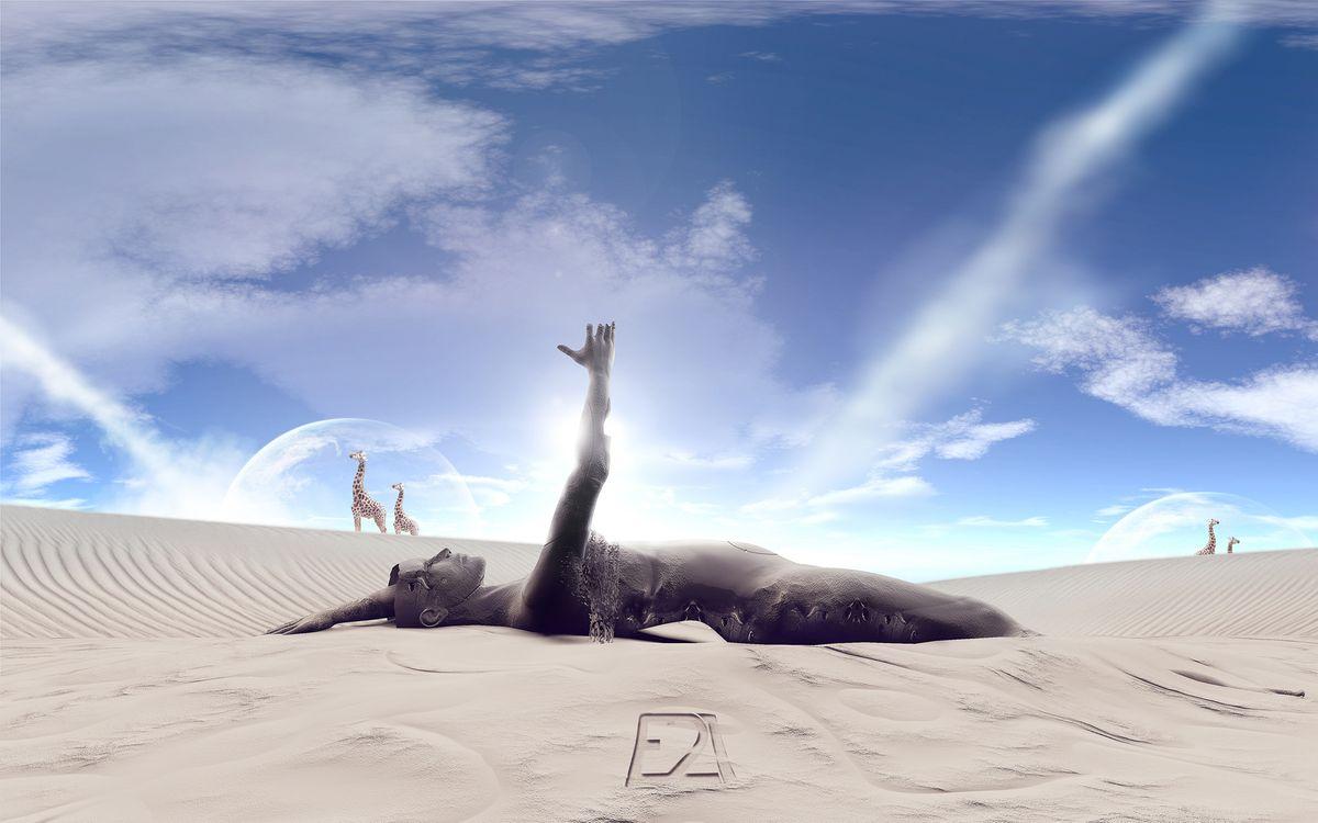 Картинка человек, абстракция, фон, синий, цвет, заставка, абстракции, песок, дюны, жираф, луна, разное на рабочий стол. Скачать фото обои разное