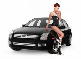 Обои форд, черный, фары, решетка, девушка, корсет, машины