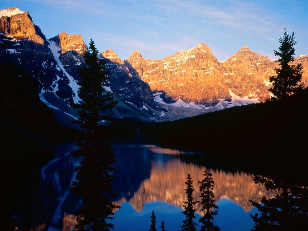 Фото бесплатно горы, снег, вода, деревья, лес, небо, природа, природа
