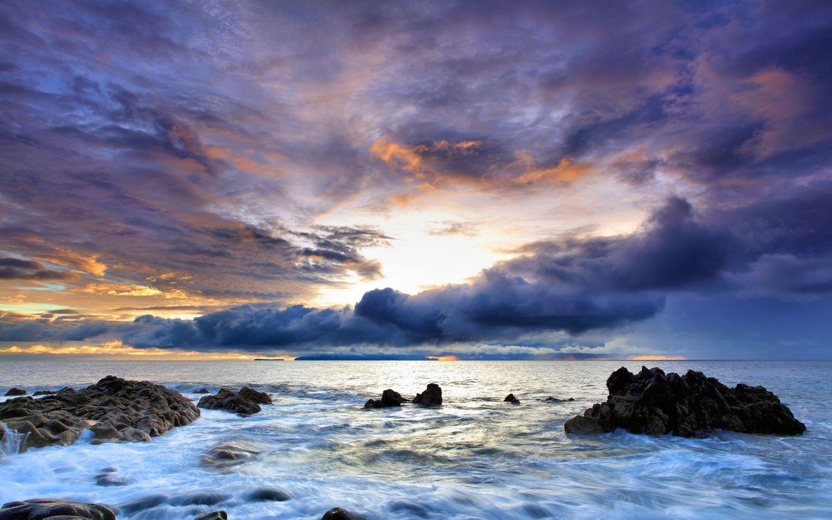 Фото бесплатно море, волны, камни, горизонт, небо, облака, пейзажи, пейзажи