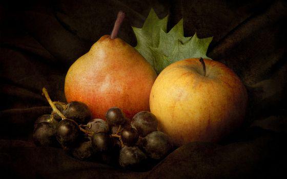 Бесплатные фото натюрморт,фрукты,груша,яблоко,виноград,лист,рендеринг