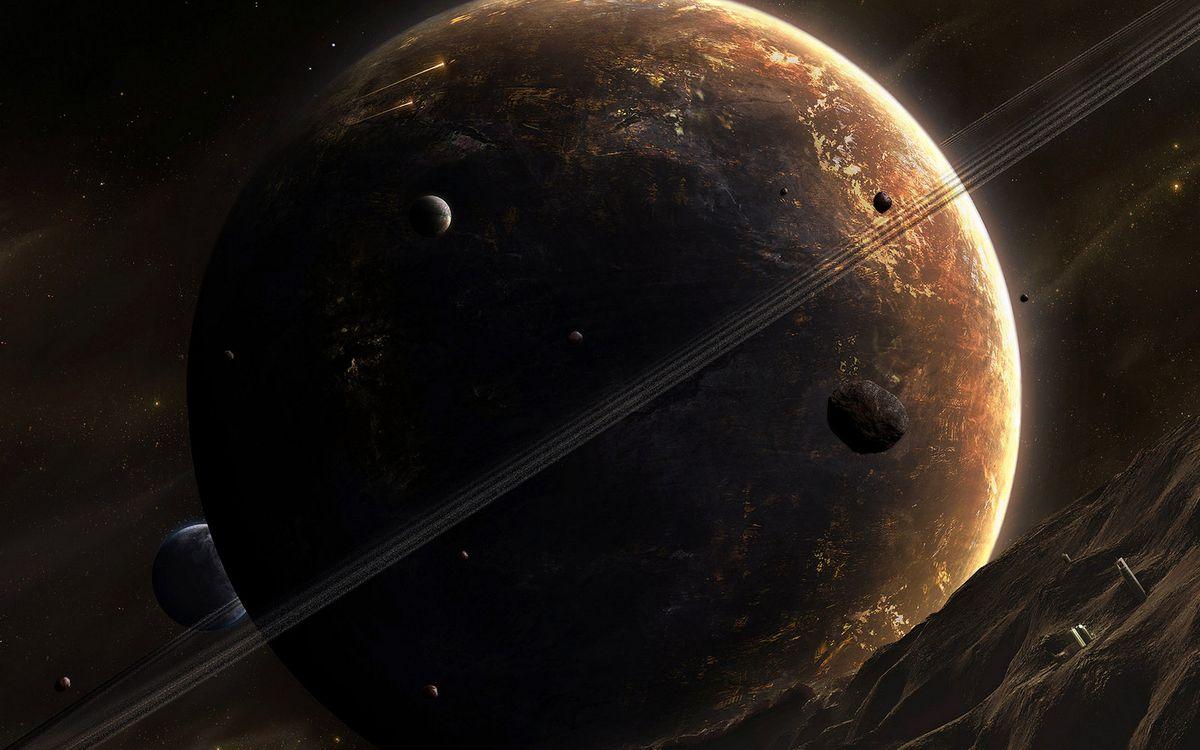 Фото бесплатно планета, метеориты, много - на рабочий стол