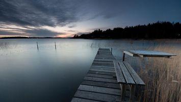 Бесплатные фото пристань,мостик,причал,лавочка,озеро,трава,деревья