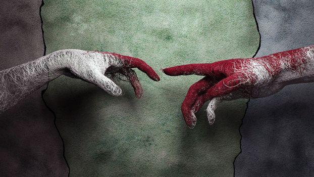 Photo free hands, threads, white