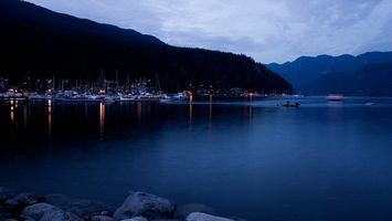 Обои вода, озеро, яхты, лес, деревья, небо, природа