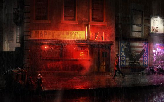 Фото бесплатно супер герой, dc comics, city, город, rorschach, watchmen, улица, комикс
