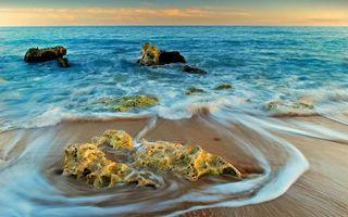 Бесплатные фото берег,песок,море,волны,камни,горизонт,небо