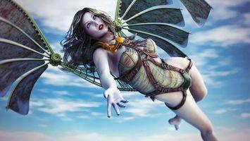 Заставки девушка,ремни,крылья,полет,небо,облака,рендеринг