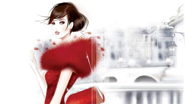 Бесплатные фото девушка,мех,красный,цвет,волосы,прическа,сумочка,дома,девушки