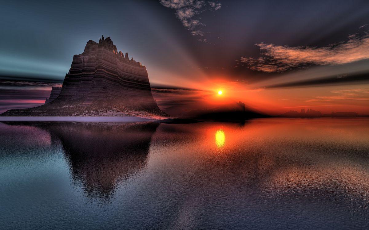 Фото бесплатно закат солнца, осень, море - на рабочий стол