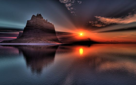 Фото бесплатно закат солнца, осень, море
