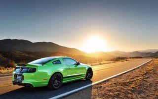Бесплатные фото ford,mustang,shelby,зеленый,кислотный,трасса,техас