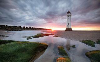 Бесплатные фото маяк,берег,океан,закат,солнце,тучи,ил