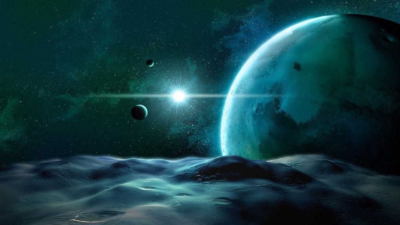 Фото бесплатно планеты, спутники, звезда - на рабочий стол