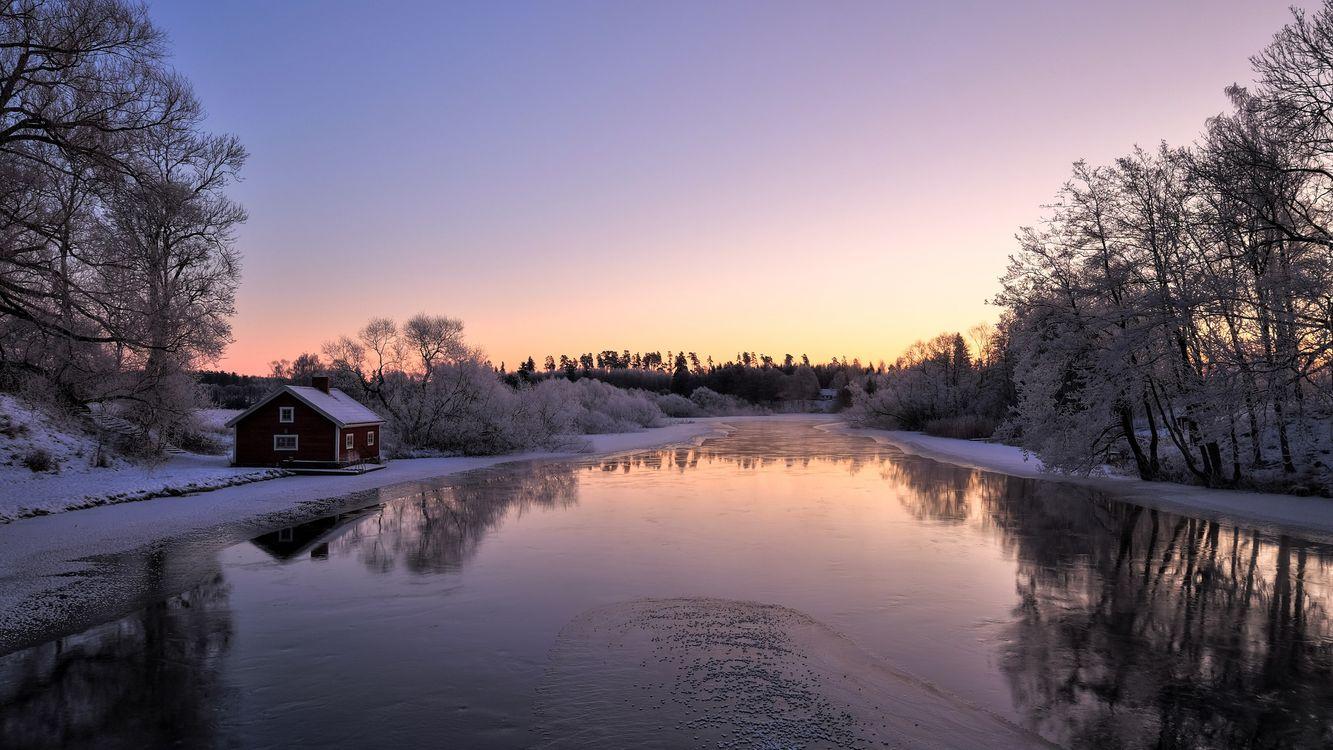 картинки для рабочего стола зима в деревне здание