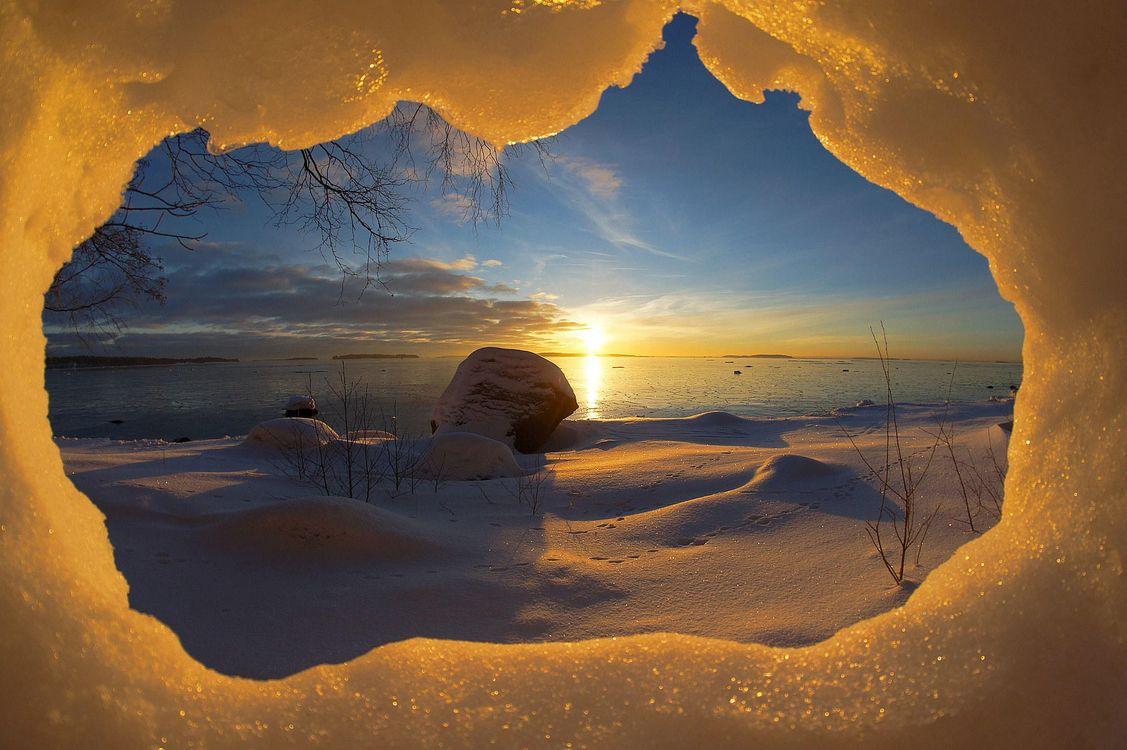 Фото бесплатно снег, пещера, Suomi, Финляндия, Хельсинки, Вуосаари, зима, закат, пейзаж, пейзажи